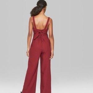 Wild Fable burgundy button down tie back jumpsuit
